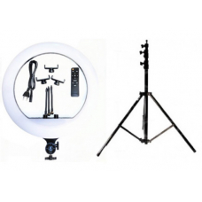 Набор: Кольцевая светодиодная LED лампа с 3-мя держателями (45 см.) и пультом + Штатив 210 (white)