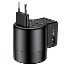 Сетевое зарядное устройство универсальное Baseus Rotation Type Universal Charger ACCHZ-01, 2хUSB, Travel Charger (black)