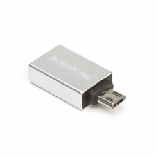 OTG адаптер BOROFONE BV2 USB-A/microUSB (серебряный)