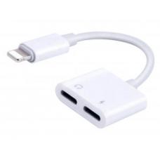 Переходник разветвитель для iPhone Наушники Lightning + зарядка