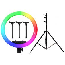 Набор: Светодиодная цветная кольцевая лампа RGB LED MJ-18 Soft Ring Light (45 см) + Штатив 210 см. (white)