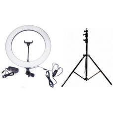 Набор: Кольцевая светодиодная лампа с держателем (35 см) + Штатив (white)