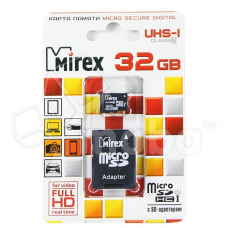 Карта памяти MicroSDHC 32GB Class 10 Mirex UHS-I + SD адаптер