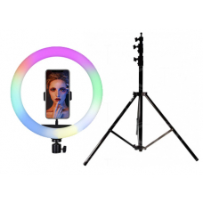 Набор: Цветная кольцевая светодиодная лампа с держателем RGB LED MJ-26 (26 см) Soft Ring Light + Штатив 210 см. (white)