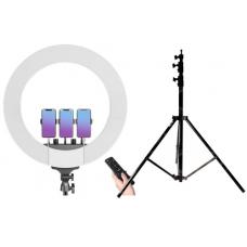 Набор: Кольцевая светодиодная лампа с 3-мя держателями M22S (55 см) LED Soft Ring Light + Штатив 210 см. (white)