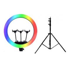Набор: Цветная кольцевая светодиодная лампа с 3-мя держателями RGB LED Soft Ring Light MJ14 (36 см) + Штатив 210 см. (white)