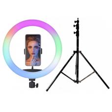 Набор: Цветная кольцевая светодиодная лампа с держателем RGB LED MJ-33 (33 см) Soft Ring Light  + Штатив 210 см. (white)