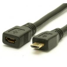Кабель Micro USB - Micro USB удлинитель 0.2м (black)
