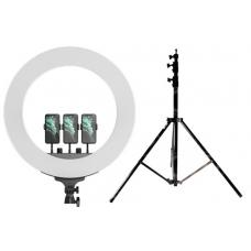Набор: Кольцевая светодиодная лампа с 3-мя держателями M22 (55 см) LED Soft Ring Light + Штатив 210 см. (white)