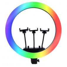 Цветная кольцевая светодиодная лампа с 3-мя держателями RGB LED Soft Ring Light MJ14 (36 см) без штатива (white)