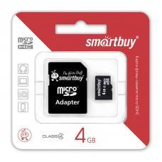 Карта памяти SmartBuy Micro SD 4Гб (с адаптером SD)
