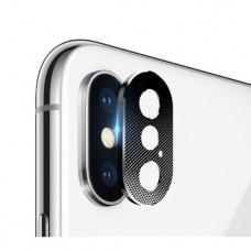 Закаленное стекло + защитное кольцо на камеру Totu Camera Cover для iPhone X, XS, XS Max (silver)