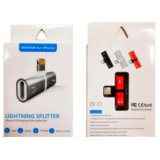 Разветвитель Lightning splitter для iPhone с разъемом зарядки и аудио разъемом (в коробке)