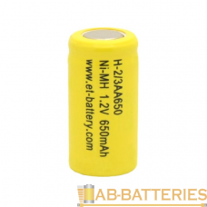 Аккумулятор ET H-2/3AA650 14.5*28.0, 1.2В, 650мАч, Ni-MH (1/20/1000)