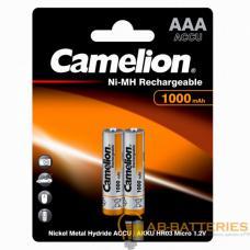Аккумулятор бытовой Camelion R03 AAA BL2 NI-MH 1000mAh (2/24/480/17280)