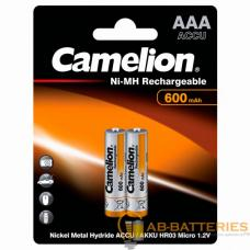Аккумулятор бытовой Camelion R03 AAA BL2 NI-MH 600mAh (2/24/480)