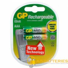 Аккумулятор бытовой GP R03 AAA BL2 NI-MH 650mAh в пластиковой упаковке (2/20/200)