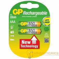 Аккумулятор бытовой GP R03 AAA BL2 NI-MH 850mAh в бумажной упаковке (2/28/224)