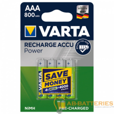 Аккумулятор бытовой Varta R03 AAA BL4 NI-MH POWER R2U 800mAh (4/40/200)