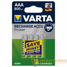 Аккумулятор предзаряженный RTU Varta R03 AAA BL4 NI-MH 800mAh (4/40/200)
