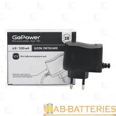 Блок питания GoPower 500mA 6V 5,5x2,5/12мм нестабилизированный положительная полярность (1/150)