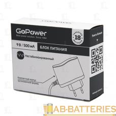 Блок питания GoPower 500mA 9V 5,5x2,1/12мм нестабилизированный отрицательная полярность (1/100)