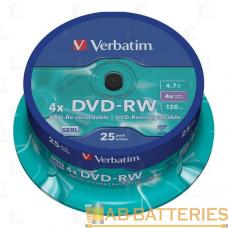 Диск DVD-RW VS 4.7GB 4x 25шт. cake box