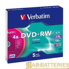 Диск DVD-RW VS 4.7GB 4x 5шт. SlimCase (5/200)