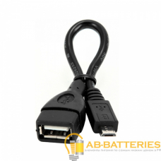 Кабель Atcom USB (f)-microUSB (m) 0.1м силикон черный (1/100/1000)