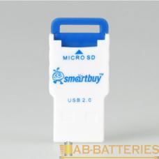 Картридер Smartbuy 707 USB2.0 microSD синий (1/20)