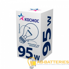Лампа накаливания Космос A50 E27 95W 220-240V ЛОН Брест ЭКОНОМИК ГОФРА прозрачная (1/154)