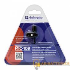Микрофон Defender MIC-109 конденсаторный 54 дБ 1.8м на прищепке черный (1/50)