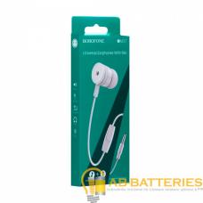 Наушники внутриканальные Borofone BM31 с микрофоном белый (1/76/304)