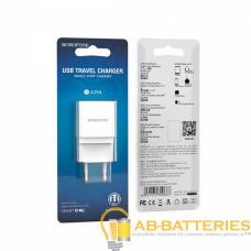 Сетевое З/У Borofone BA19A 1USB 1.0A с кабелем microUSB белый (1/65/260)