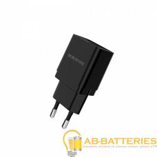 Сетевое З/У Borofone BA19A 1USB 1.0A с кабелем microUSB черный (1/65/260)