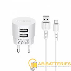 Сетевое З/У Borofone BA23A 2USB 2.4A с кабелем microUSB белый (1/36/216)