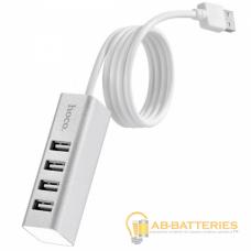 USB-Хаб HOCO HB1 4USB USB (m) серебряный (1/12/120)