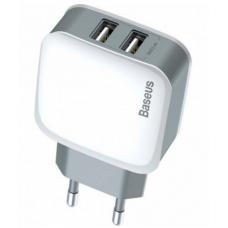 Сетевое зарядное устройство Baseus Letour Dual U Charger 2xUSB EU (ZCL2B-B02) (white)