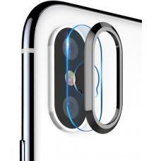 Защитное кольцо + закаленное стекло на камеру Totu Design Camera protection set для iPhone X (silver)