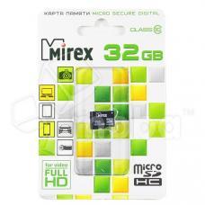 Карта памяти MicroSDHC 32GB Class 10 Mirex без адаптера