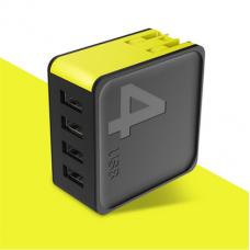 Сетевой блок питания Rock Sugar Travel Charger 4.0A 4 USB (US) (black)