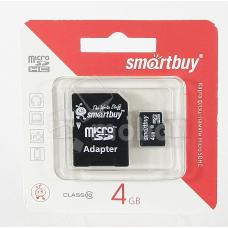 Карта памяти MicroSDHC 4GB Class 10 Smart Buy + SD адаптер