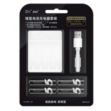 Зарядное устройство Xiaomi ZMI PB401 в комплекте с аккумуляторами AA (4 шт) 1700 mAh (white)
