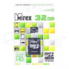 Карта памяти MicroSDHC 32GB Class 10 Mirex + SD адаптер