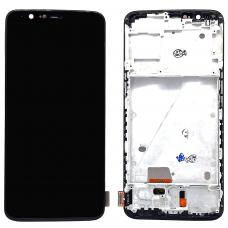 Дисплей с тачскрином OnePlus 5T в рамке черный TFT