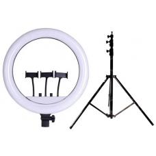 Набор: Светодиодная цветная кольцевая лампа RGB LED RL-18 Soft Ring Light (45 см) + Штатив 210 см. (white)